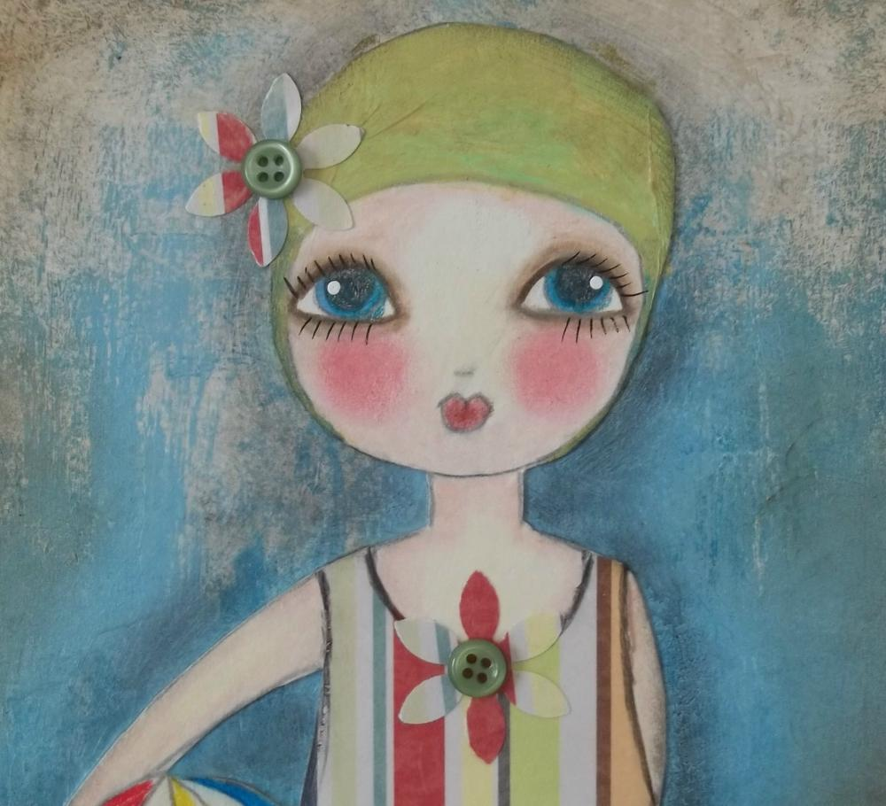 Little Swimmer 5x7 art card PRINT Mixed Media design