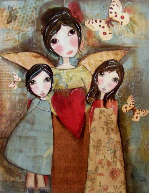 Guardian Angel with two Children 5x7 ART CARD