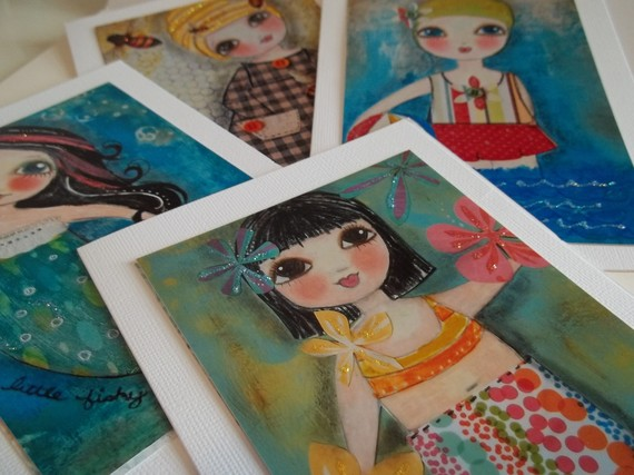 Summer THEME set of 4 ART CARDS Blank cards