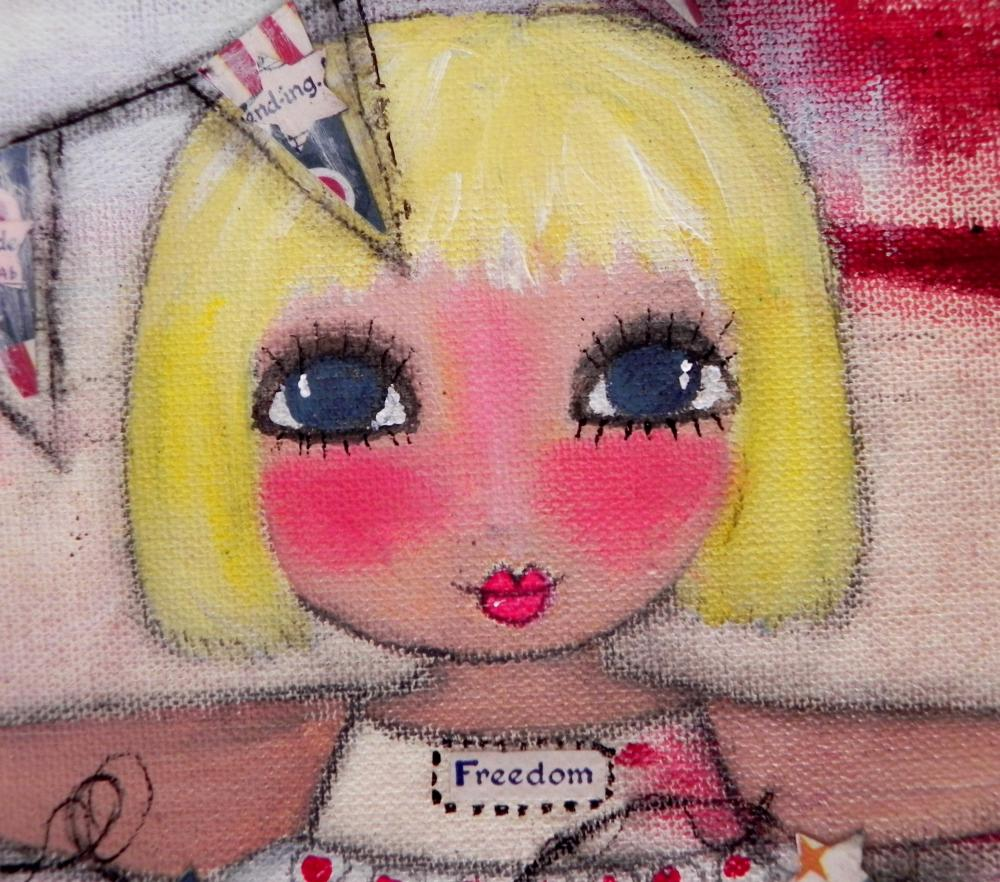 Miss Liberty Belle 12x12 ORIGINAL ART mixed media painting