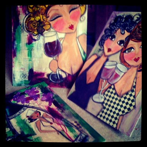 Cabernet Girls LARGE set of three WINE themed ORIGINAL paintings