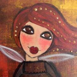 Autumn Angel with scripture 11x14 ORIGINAL ANGEL ART