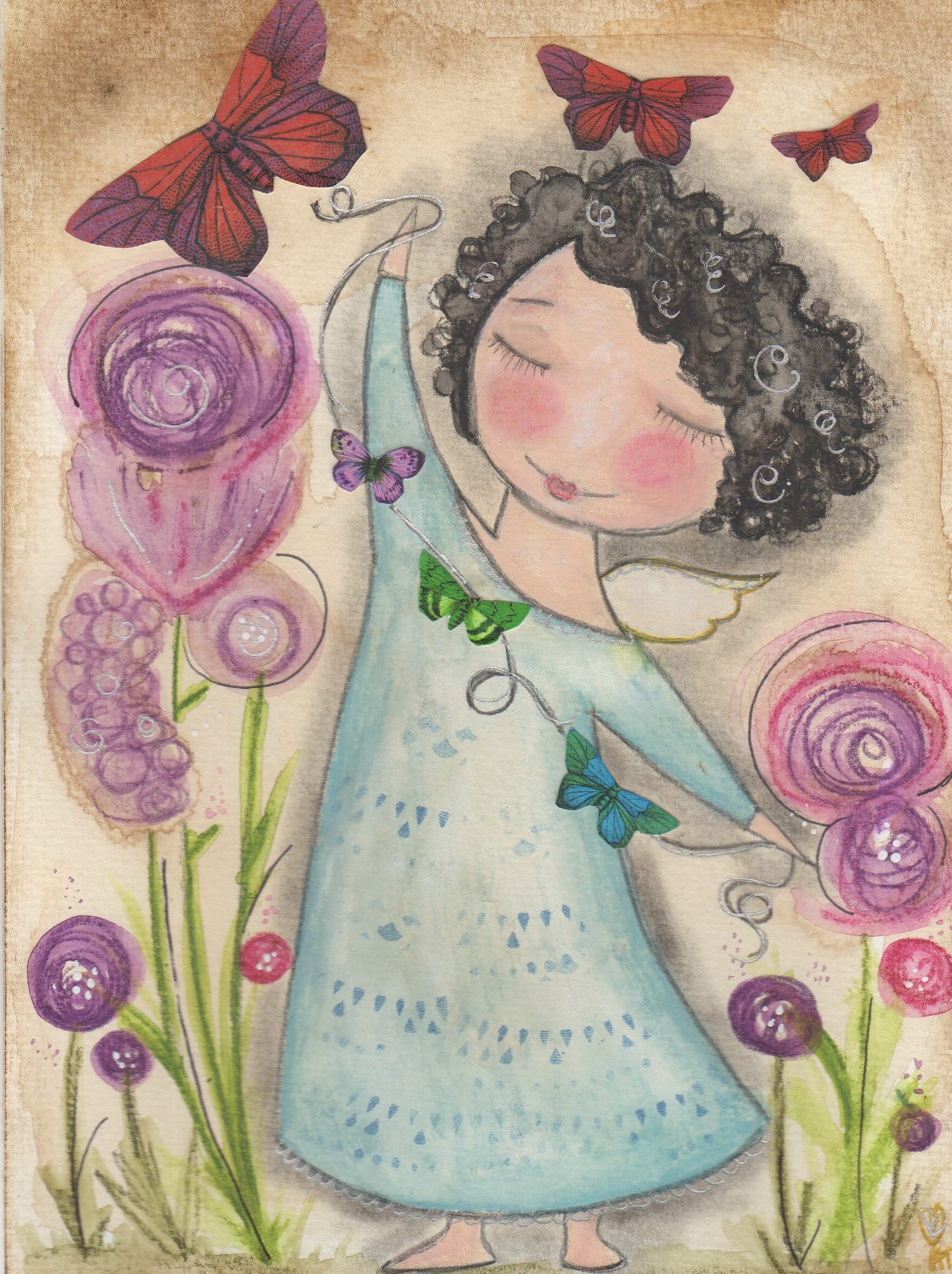 Butterfly Garden Angel 5x7 Art Card Print On Luulla